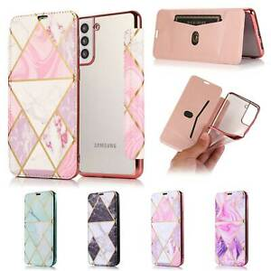 Slim Leather Flip Cover Clear Stand Phone Case For Samsung S21 S20 Note 20 A51