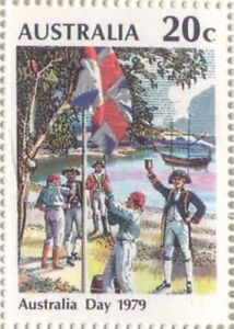 Australian 1979 Australia Day 20c Stamp First British Landing Flag variety Issue