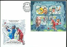 MOZAMBIQUE 2013 CRICKET CHAMPIONS OF ALL TIME SHEET OF FOUR STAMPS FDC