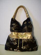 Gorgeous Silk / Satin Hobo Shoulder Bag Purse Black & Gold Handbag Tote