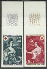FRANCE CROIX ROUGE TABLEAUX RED CROSS NON DENTELES IMPERFS ESSAY ** 1968 130€