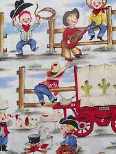 Michael Miller LIL COWPOKES Retro Cowboy  Fabric- yards