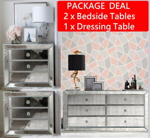 6 Drawer Chest Dresser & (Pair) Mirrored Bedside Tables Package Mirror Furniture