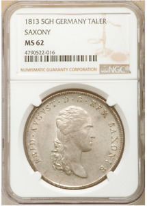Only 3 Better! 1813 Germany Saxony Taler NGC MS62 Uncirculated Thaler