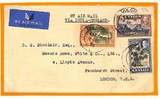 AG154 CEYLON AVIATION 1936 Colombo Air Mail London via India KGV 1r Cover