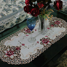 yazi Oval Vintage Roses Tablecloth Cutwork Fabric Table Cover Wedding Party