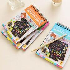 Scratch Scraping Book Art Magic Painting Paper Kid Toy Drawing Stick