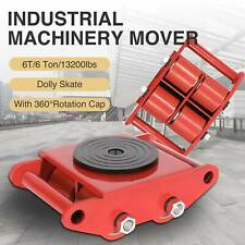 6T Industrial Machinery Mover w/ 360° Swivel Rotation Cap 4 Rollers Dolly Skate