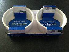 BNWT Everyday Essentials Set of 2 White Ramekins 9 x 4.3cm Oven/Microwave Safe