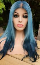 Bright Blue Aqua Green Human Hair Wig Real Hair Wig Free Part Lace Front Wig