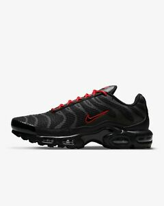 """Nike Air Max Plus """"Black/University Red/Black"""" Trainers Limited Stock All Sizes"""
