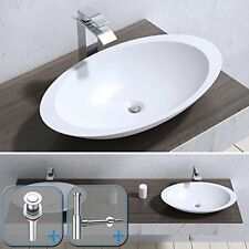Durovin Bathrooms Oval Solid Stone Counter top Wash Basin with Waste Plug and
