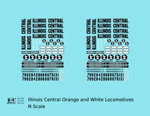 K4 N Decals Illinois Central Diesel Locomotive Black Orange/White Scheme