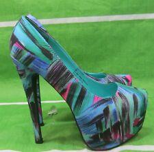 "new Green Multi 6.5""Stiletto High Heel 2.5""Platform Womens Sexy Shoes Size 8"