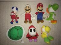 Lot Of 7 Plush Nintendo Super Mario Brothers Plush Toys - Electronic Koopa Shell