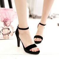 Women Black High Heel Ankle Strap Sandals Open Toe Buckle Platform Shoes Sz35-43