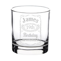 Personalised Engraved Jack Daniels Style Whisky Glass Birthday Gift