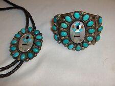 Vintage Bracelet & Bolo Navajo Robert Begay Kingman Turquoise Zuni Inlay NICE