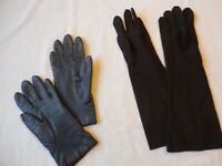 Gloves 2 Pair Vtg Ladies Gray Leather & Wear Right Brand Brown Nylon Size 7