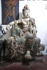 """86"""" Chinese Wood Painted Dragon Comfortable Kwan-yin Bodhisattva Guanyin Statue"""