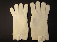 "Vintage Cream White Knit Fabric Short Gloves 7 1/2"" Long Cute Buckle Trim"