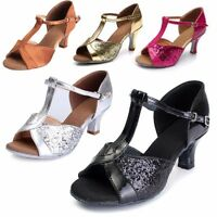 New Women's ladies Ballroom Latin Tango Dance Shoes Mid High Heel Shoes Size *