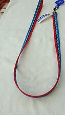 "New Dog Lead Argyle blue and red 40"" × 3/4"""