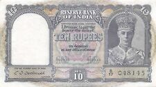 India  10  Rupees  ND. 1943  P 24  Series  B/17  Kg. G. VI  Circulated Banknote
