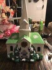 Large Ceramic Vintage Church Light Up With Music Box Joy To the World