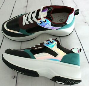 WOMENS LADIES LACE UP SPORT CHUNKY TRAINERS PUNK PLATFORM SNEAKERS SHOES SIZE