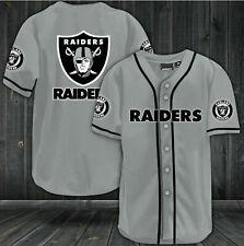 Oakland Raiders Summer Baseball Shirt Men's Football Button-Down Tee Top Uniform