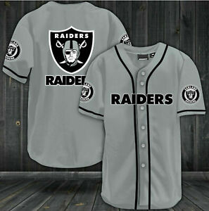 Oakland Raiders Baseball Shirt Men's Football Button-Down Tee Top Uniforms Gifts