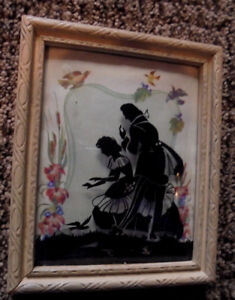 Silhouette Picture, Couple & Birds, Flowers, Curved Class, White Frame, 1940s