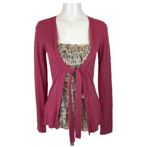 Beautiful LAURA ASHLEY 2 In 1 Top Cardigan Pink Blouse Autumn Leaf Design Uk 10