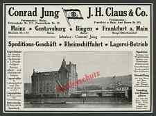 Orig Advertising Carrier CONRAD YOUNG Warehouse customs Port Crane Railway Mainz 1916