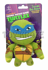 "TEENAGE MUTANT NINJA TURTLES PLUSH TALKING KEY CHAIN! LEONARDO BLUE 4"" NEW"
