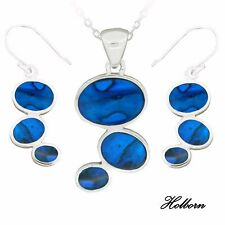 Silver Plated icebronz Pendant and Earring Set, Thoughts, Blue Shell, Gift Boxed