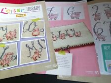 CROSS STITCH CHART LETTER LIBRARY ALPHABET & NUMBERS CHARTS PIGS PIG THEMED