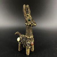 Vintage Brass Wire Filigree Lama Figurine Gemstone Cabochons Animal