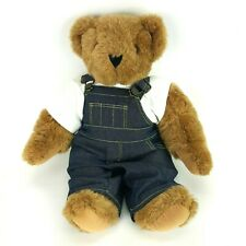 """Vintage Vermont Teddy Bear w/ Overalls 16"""" Plush Stuffed Animal Jointed Poseable"""