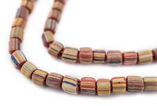 Rainbow Stripe Java Gooseberry Beads 5mm Indonesia Brown Round Glass