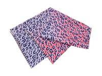 Auth Louis Vuitton Leopard Batik Scarf Shawl Blue/Pink 100% Silk - e39854