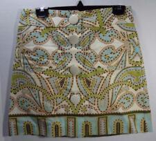 J.CREW light blue green beige paisley button front 100% cotton A-line skirt 2