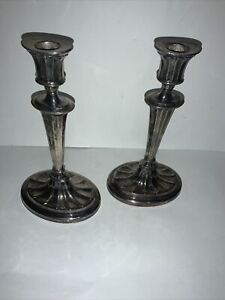 Sheffield Silver Plated Candle Stick Holders  L.B.S. Co