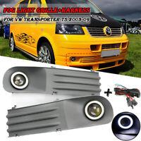 Paar Nebelscheinwerfer + Kühlergrill + Schalter Set für VW T5 TRANSPORTER 03-09