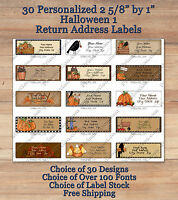 Colourful Cute 30 Personalized HALLOWEEN 1  FALL Address Labels Pumpkins Crows