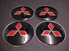 4X 56mm Black RED MITSUBISHI Wheel Center Cap Emblem Stickers OUTLANDER RAIDER
