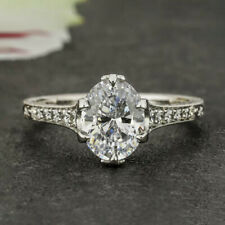 1.2 Carats Oval Cut Moissanite Engagement Ring in 9k Solid White Gold