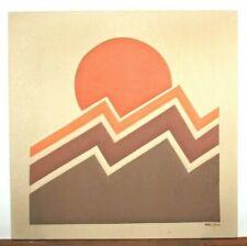 "Original MCM 1970s Ron Brejtfus LIGHTNING Fabric Art 23.75"" x 23.75"""