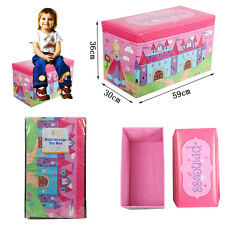 PRINCESS KIDS STORAGE TOYS BOX BOOKS BENCH CHILDRENS W/ LID FOLDING STOOL SEAT